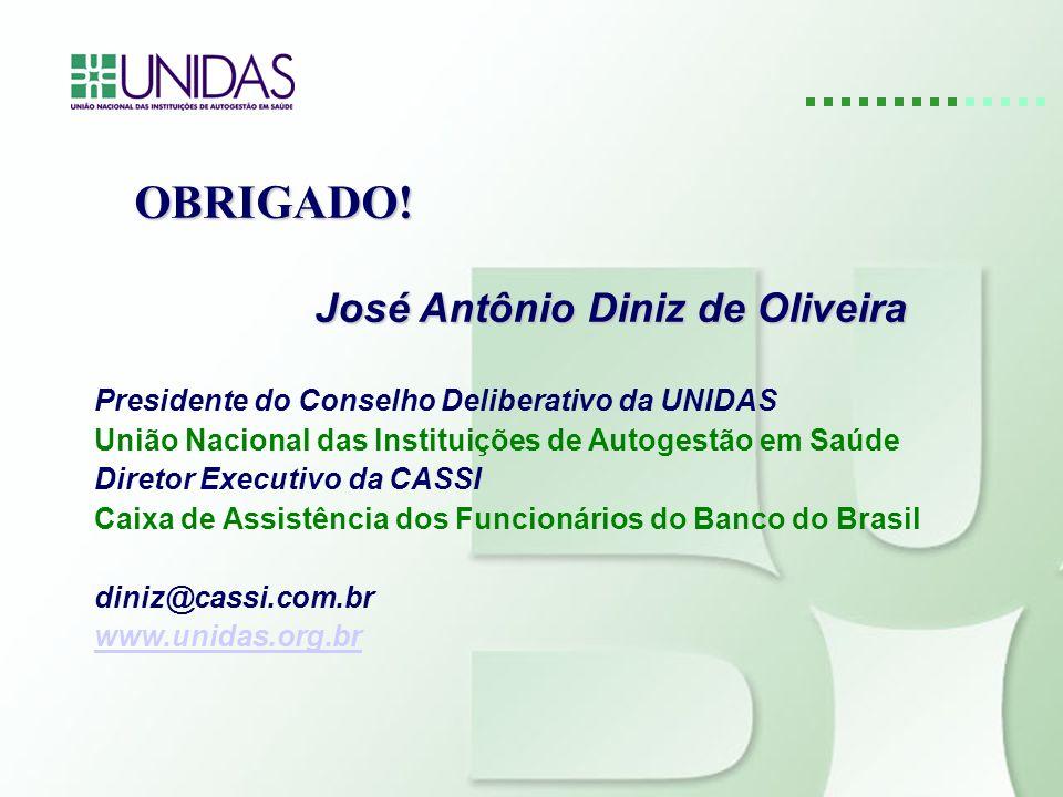OBRIGADO! José Antônio Diniz de Oliveira José Antônio Diniz de Oliveira Presidente do Conselho Deliberativo da UNIDAS União Nacional das Instituições