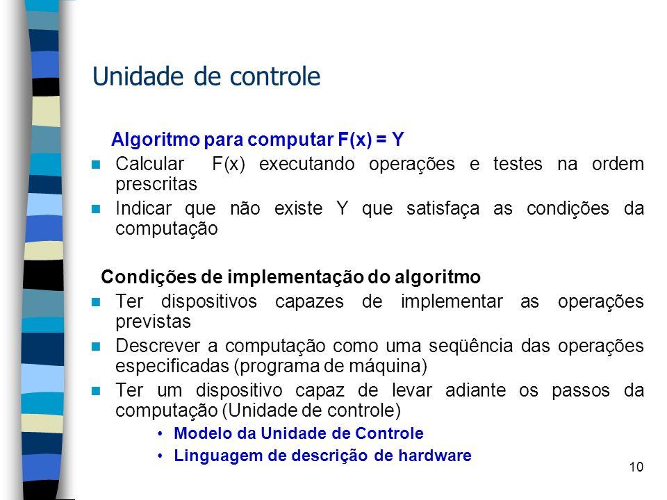 9 Relação de tempo entre os diferentes sinais na unidade de processamento da informação X X X X X X Saída do registrador alcança novo valor Muda a ent