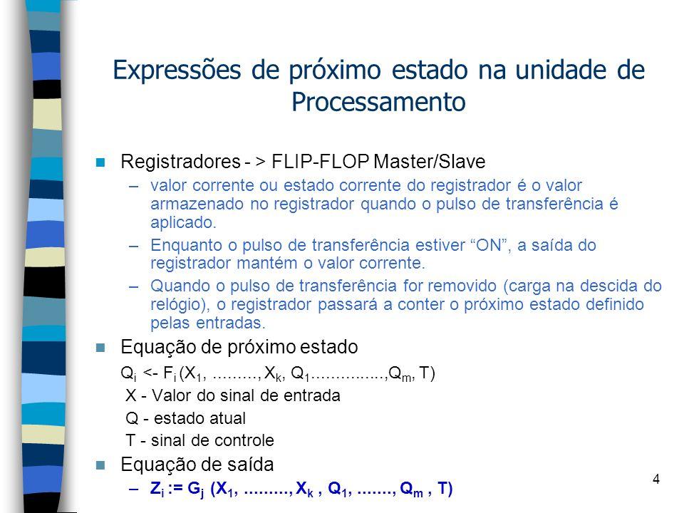 4 Expressões de próximo estado na unidade de Processamento Registradores - > FLIP-FLOP Master/Slave –valor corrente ou estado corrente do registrador é o valor armazenado no registrador quando o pulso de transferência é aplicado.