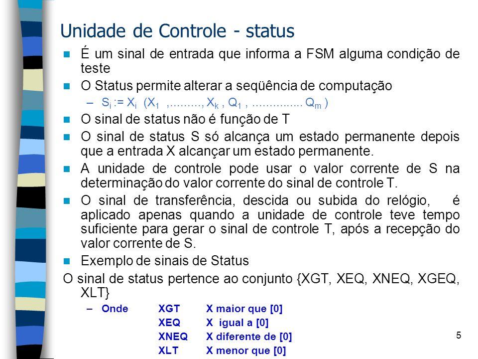 5 É um sinal de entrada que informa a FSM alguma condição de teste O Status permite alterar a seqüência de computação –S i := X i (X 1,........., X k, Q 1,...............