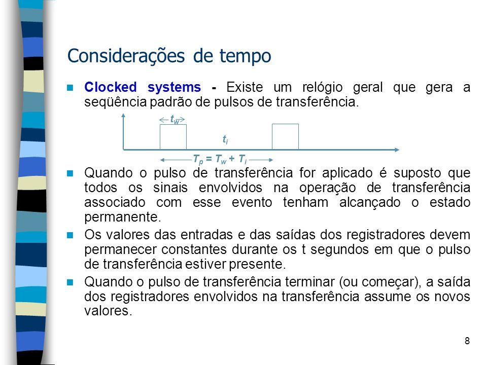 18 y := 2 x := 6 If(x>y) then z := x+y else z:= x-y Exemplo 02: Implementar o algortimo abaixo: QAQA QBQB QCQC QDQD -/CLRLD -/LDXY -/GT ST=0/ADD ST=1/SUB QEQE -/DISP Q A Sigad: Q B /CLRLD Q B Q C /LDXY Q C Q D / GT Case: Q D if = ST=[0] Q E / ADD Q D if = ST=[1] Q E / SUB Q E Q A /DISP Y +,-,> X controle Tx Ty entrada saída A - - a 0 b 0 c 00 Z Clk Tula Tz Status * STATUS = ST