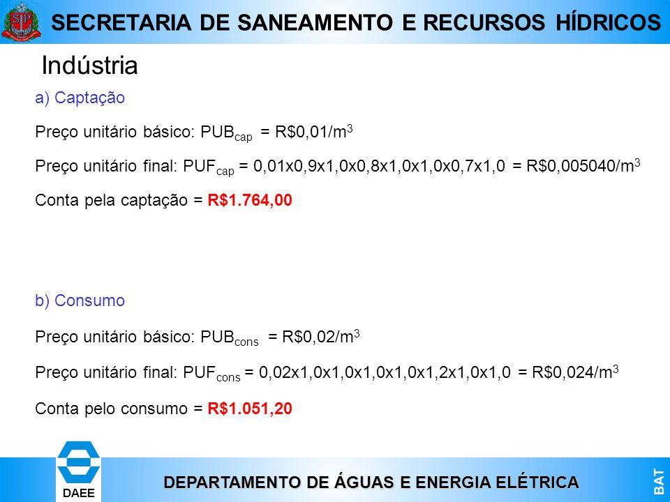 DEPARTAMENTO DE ÁGUAS E ENERGIA ELÉTRICA BAT DAEE SECRETARIA DE SANEAMENTO E RECURSOS HÍDRICOS a) Captação Preço unitário básico: PUB cap = R$0,01/m 3