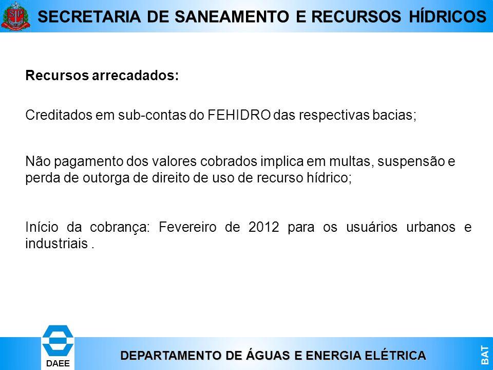 DEPARTAMENTO DE ÁGUAS E ENERGIA ELÉTRICA BAT DAEE SECRETARIA DE SANEAMENTO E RECURSOS HÍDRICOS Recursos arrecadados: Creditados em sub-contas do FEHID