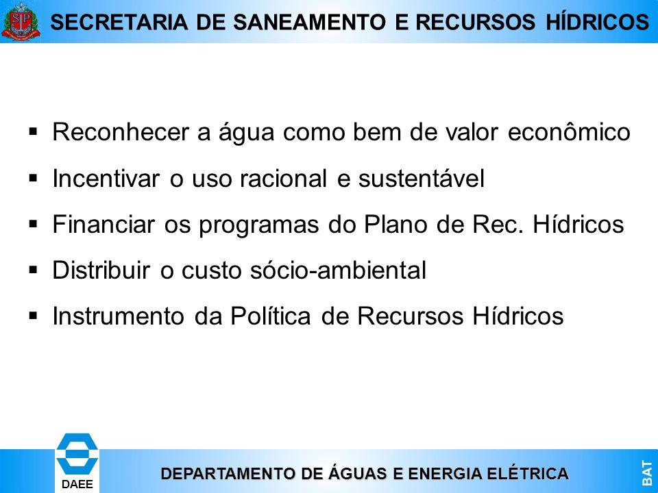 DEPARTAMENTO DE ÁGUAS E ENERGIA ELÉTRICA BAT DAEE SECRETARIA DE SANEAMENTO E RECURSOS HÍDRICOS Reconhecer a água como bem de valor econômico Incentiva