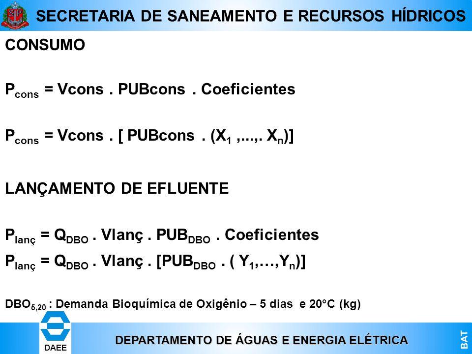DEPARTAMENTO DE ÁGUAS E ENERGIA ELÉTRICA BAT DAEE SECRETARIA DE SANEAMENTO E RECURSOS HÍDRICOS CONSUMO P cons = Vcons. PUBcons. Coeficientes P cons =