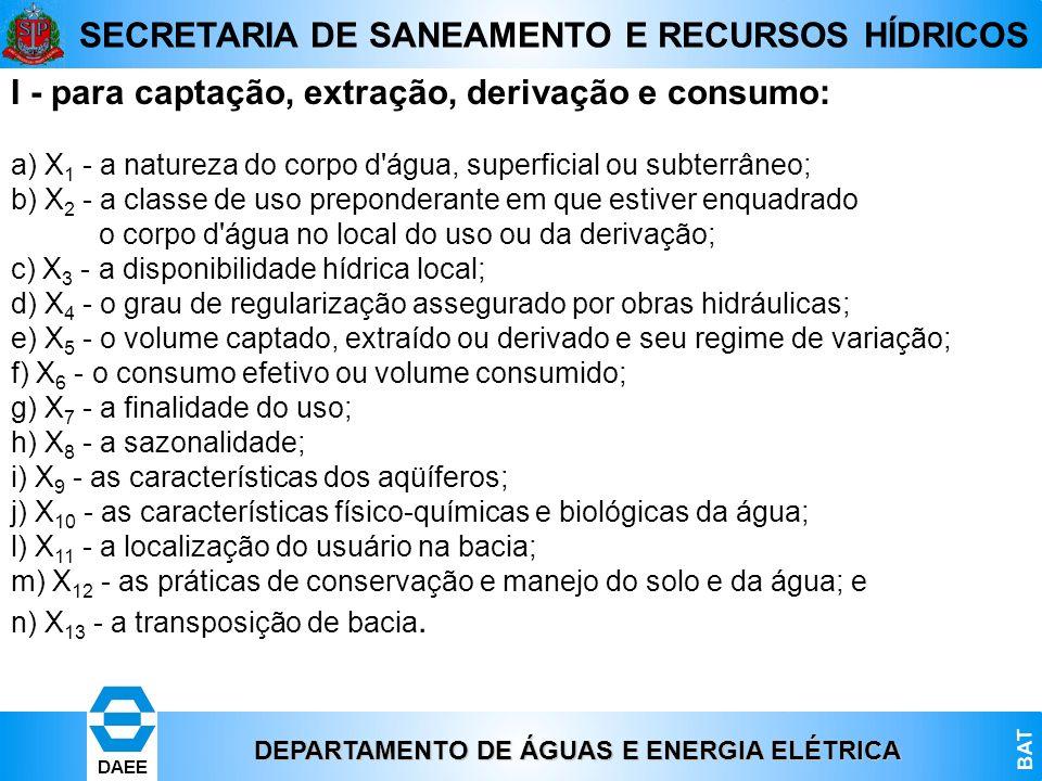 DEPARTAMENTO DE ÁGUAS E ENERGIA ELÉTRICA BAT DAEE SECRETARIA DE SANEAMENTO E RECURSOS HÍDRICOS I - para captação, extração, derivação e consumo: a) X
