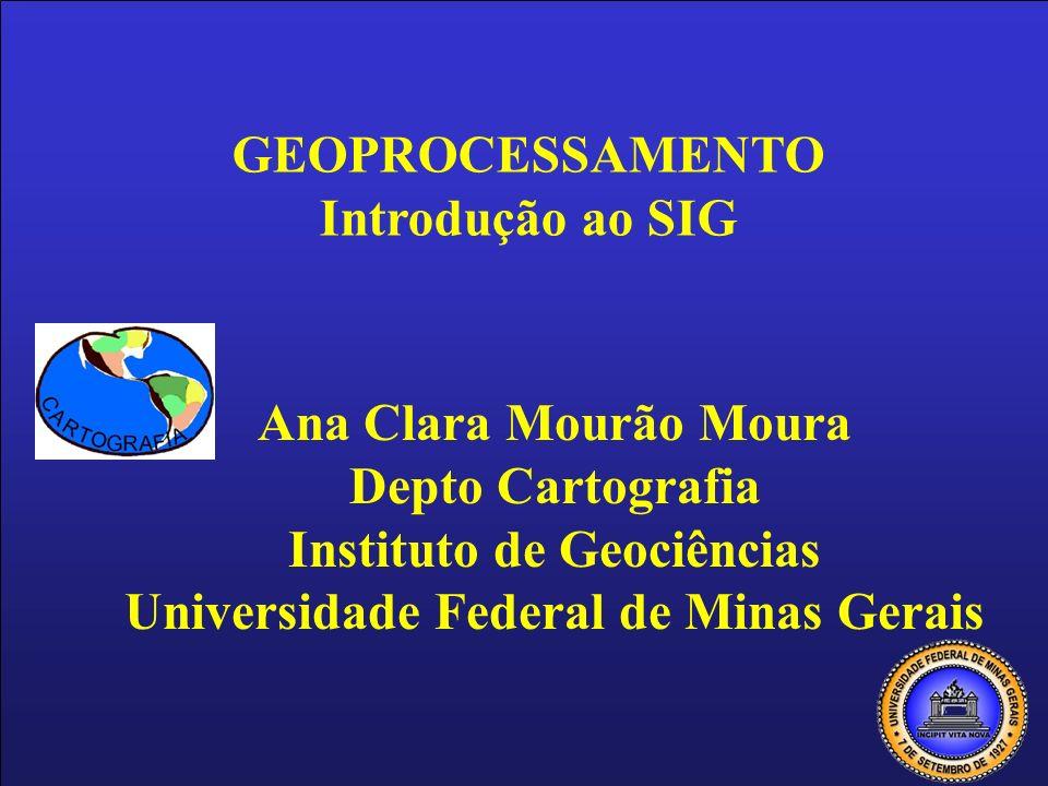 Ana Clara Mourão Moura Depto Cartografia Instituto de Geociências Universidade Federal de Minas Gerais GEOPROCESSAMENTO Introdução ao SIG