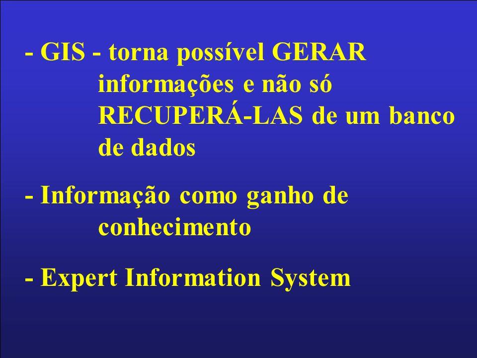 - GIS - torna possível GERAR informações e não só RECUPERÁ-LAS de um banco de dados - Informação como ganho de conhecimento - Expert Information Syste