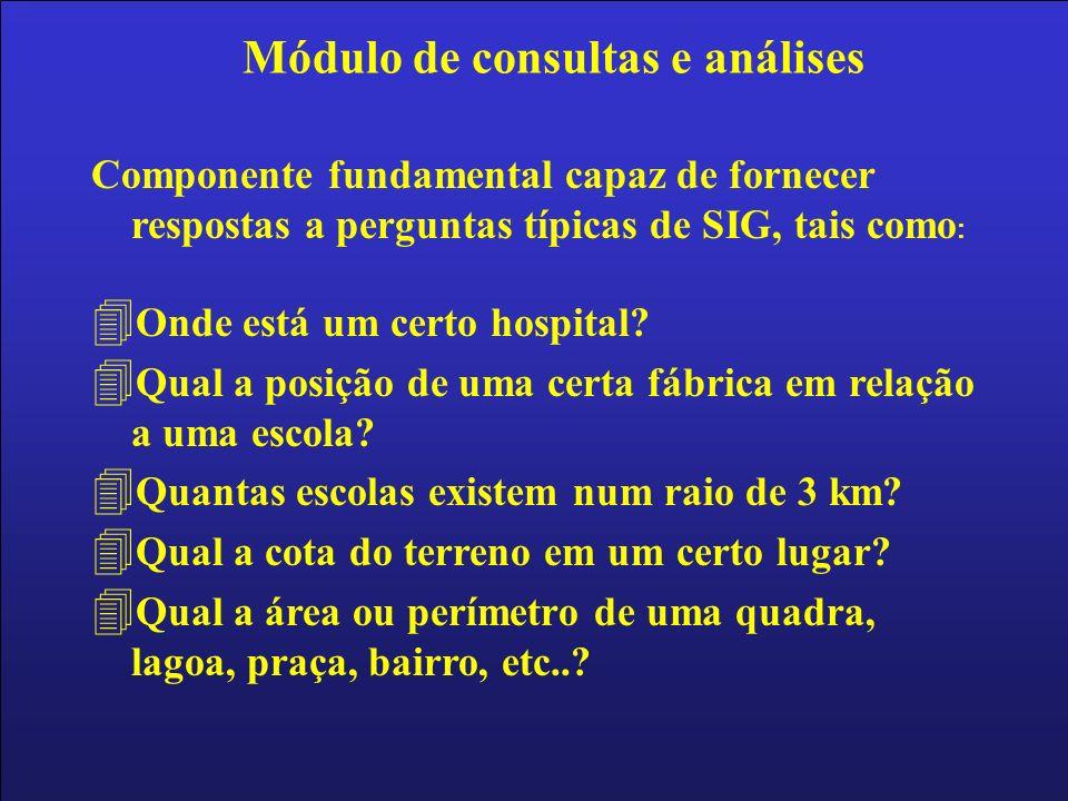 Componente fundamental capaz de fornecer respostas a perguntas típicas de SIG, tais como : 4 Onde está um certo hospital? 4 Qual a posição de uma cert