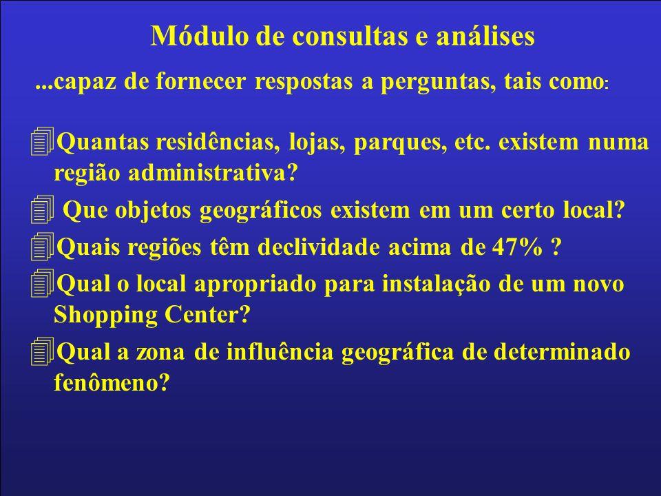 ...capaz de fornecer respostas a perguntas, tais como : 4 Quantas residências, lojas, parques, etc.