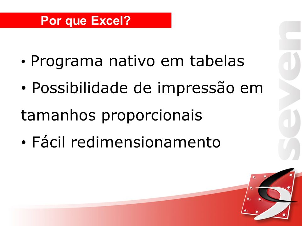 Por que Excel? Programa nativo em tabelas Possibilidade de impressão em tamanhos proporcionais Fácil redimensionamento