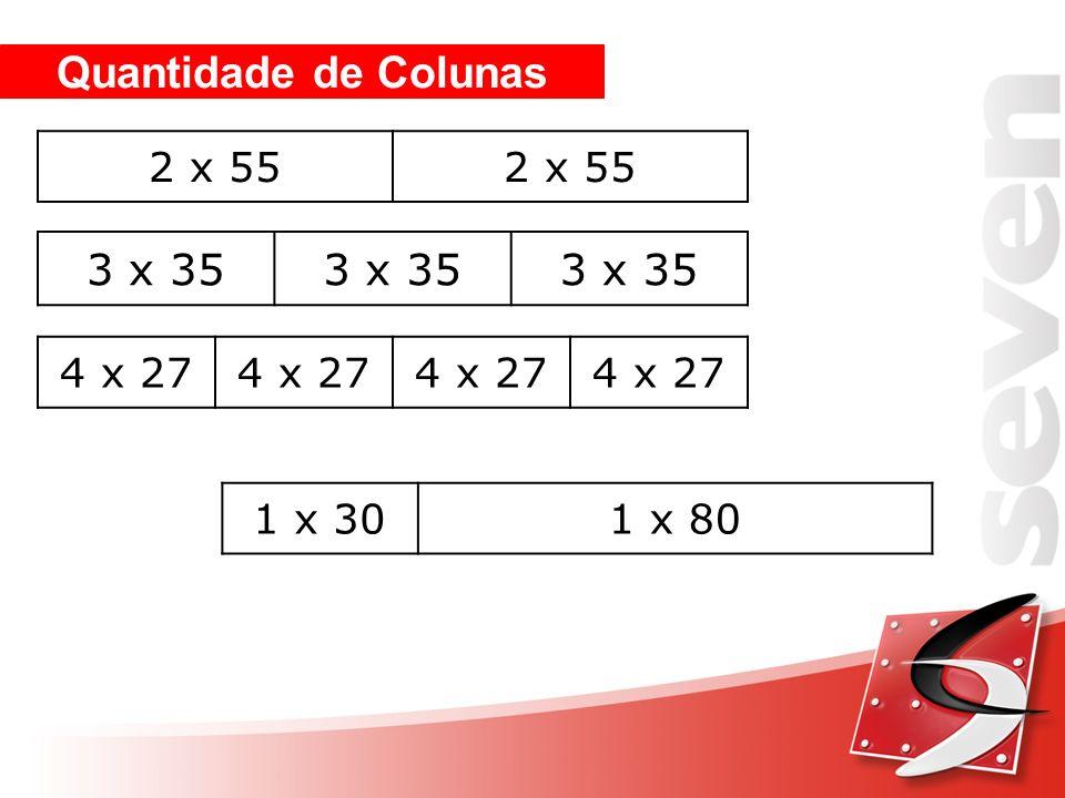 Quantidade de Colunas 2 x 55 3 x 35 4 x 27 1 x 301 x 80