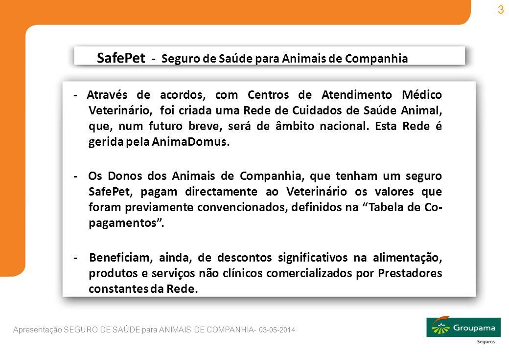 3 Apresentação SEGURO DE SAÚDE para ANIMAIS DE COMPANHIA - 03-05-2014 - Através de acordos, com Centros de Atendimento Médico Veterinário, foi criada uma Rede de Cuidados de Saúde Animal, que, num futuro breve, será de âmbito nacional.