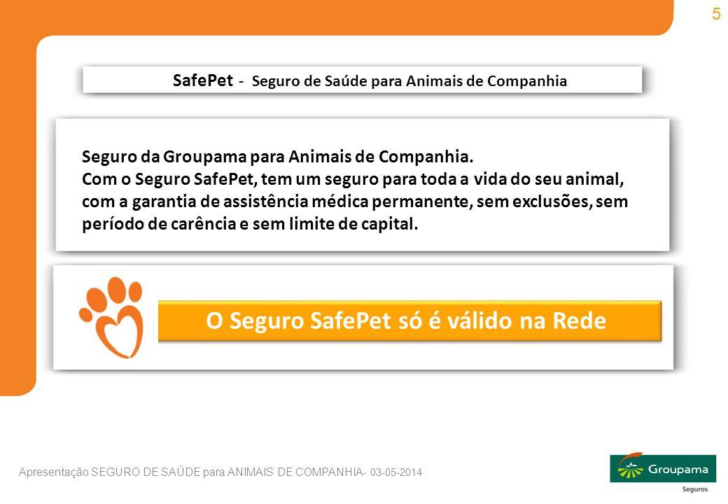 5 Apresentação SEGURO DE SAÚDE para ANIMAIS DE COMPANHIA - 03-05-2014 O Seguro SafePet só é válido na Rede SafePet - Seguro de Saúde para Animais de Companhia Seguro da Groupama para Animais de Companhia.