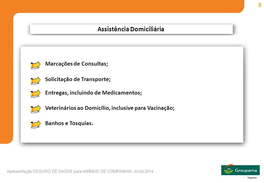 8 Apresentação SEGURO DE SAÚDE para ANIMAIS DE COMPANHIA - 03-05-2014 Assistência Domiciliária Marcações de Consultas; Solicitação de Transporte; Entregas, incluindo de Medicamentos; Veterinários ao Domicílio, inclusive para Vacinação; Banhos e Tosquias.
