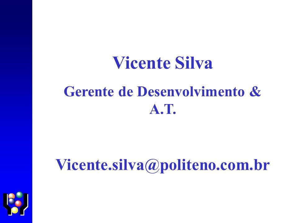 Vicente Silva Gerente de Desenvolvimento & A.T. Vicente.silva@politeno.com.br