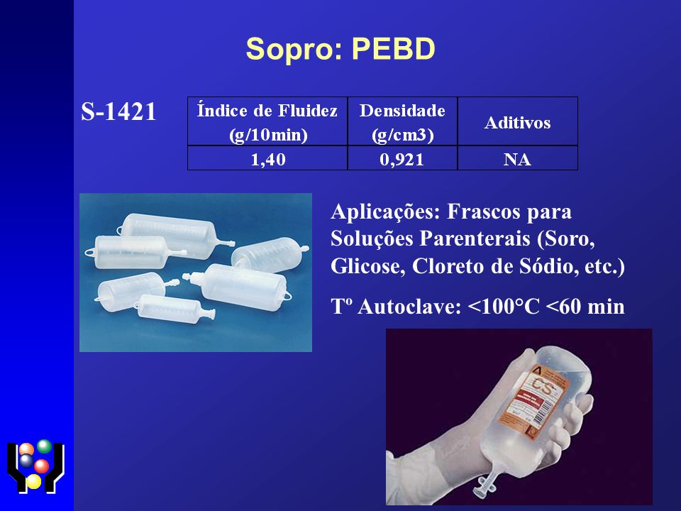 Sopro: PEBD S-1421 Aplicações: Frascos para Soluções Parenterais (Soro, Glicose, Cloreto de Sódio, etc.) Tº Autoclave: <100°C <60 min
