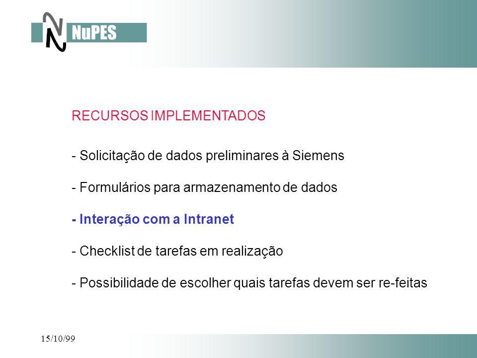 - Solicitação de dados preliminares à Siemens - Formulários para armazenamento de dados - Interação com a Intranet - Checklist de tarefas em realizaçã