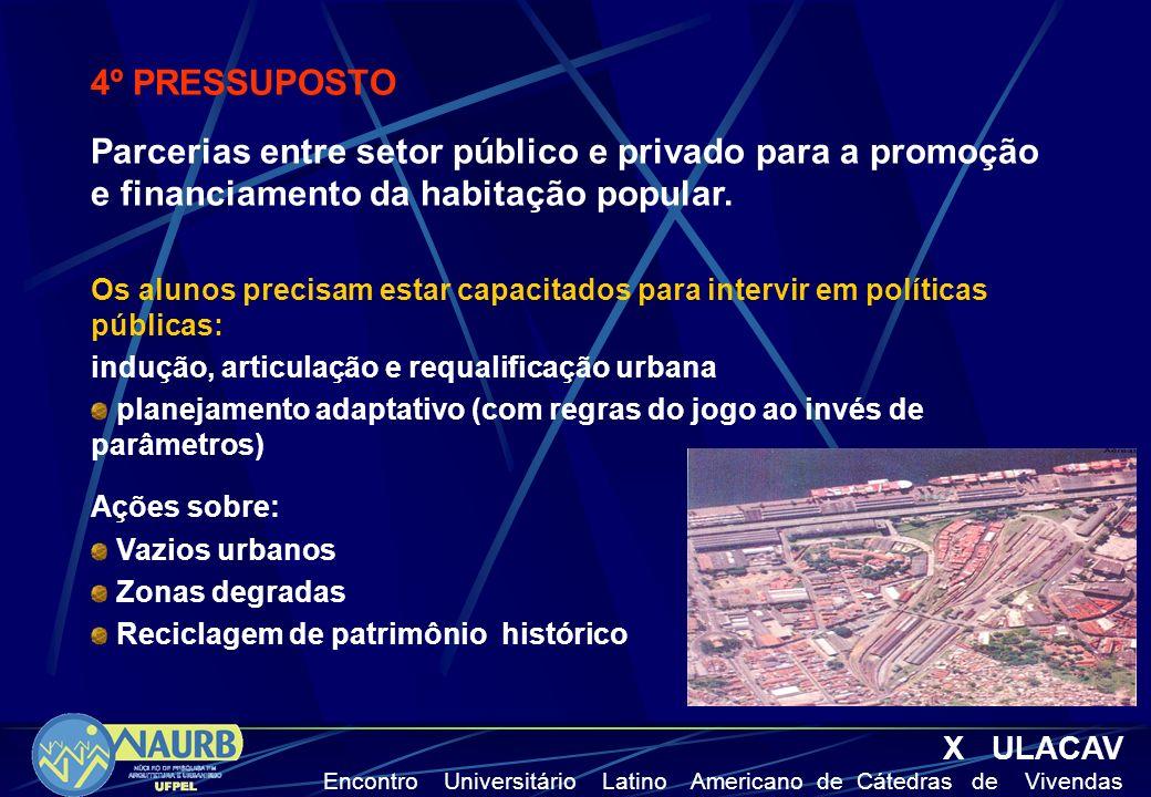X ULACAV Encontro Universitário Latino Americano de Cátedras de Vivendas 4º PRESSUPOSTO Parcerias entre setor público e privado para a promoção e fina