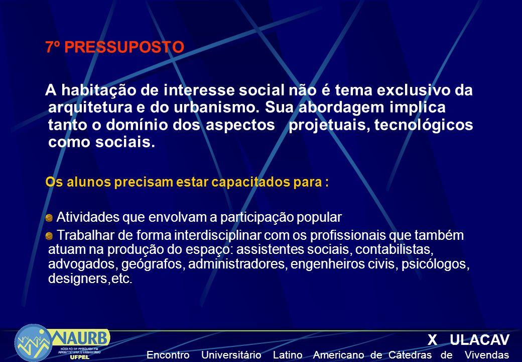 7º PRESSUPOSTO A habitação de interesse social não é tema exclusivo da arquitetura e do urbanismo.