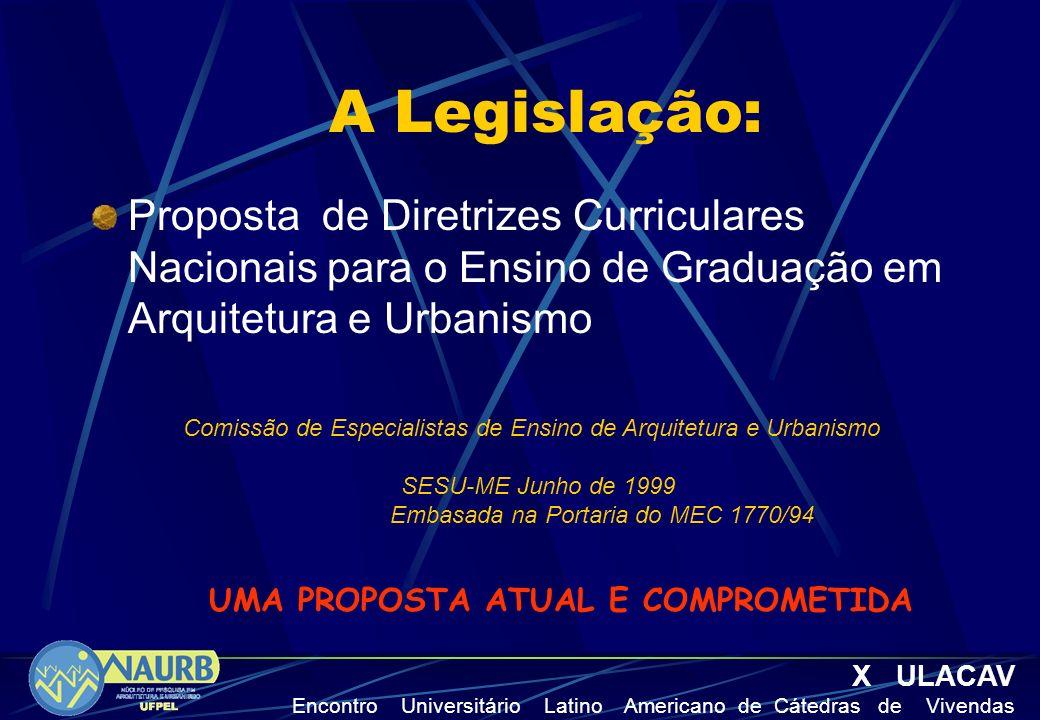 A Legislação: Proposta de Diretrizes Curriculares Nacionais para o Ensino de Graduação em Arquitetura e Urbanismo Comissão de Especialistas de Ensino
