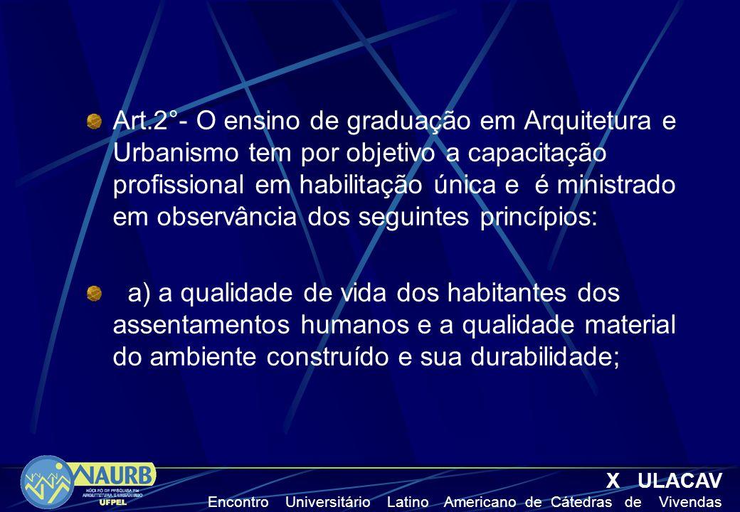 Art.2°- O ensino de graduação em Arquitetura e Urbanismo tem por objetivo a capacitação profissional em habilitação única e é ministrado em observânci