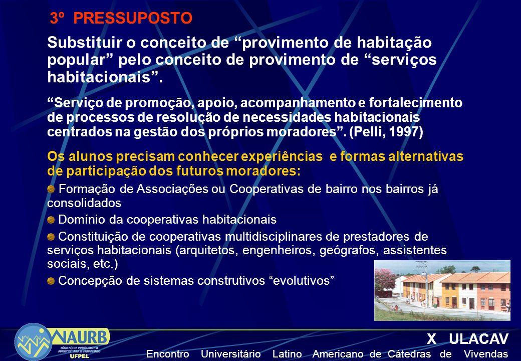 X ULACAV Encontro Universitário Latino Americano de Cátedras de Vivendas 4º PRESSUPOSTO Parcerias entre setor público e privado para a promoção e financiamento da habitação popular.