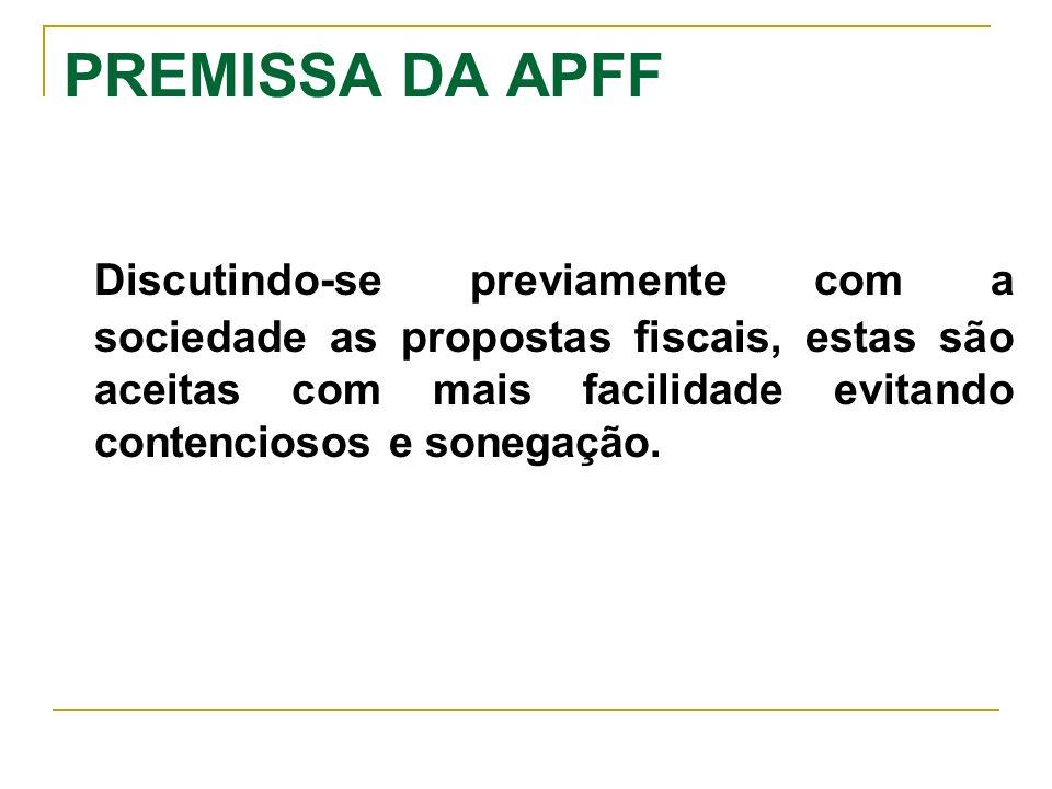 PREMISSA DA APFF Discutindo-se previamente com a sociedade as propostas fiscais, estas são aceitas com mais facilidade evitando contenciosos e sonegaç