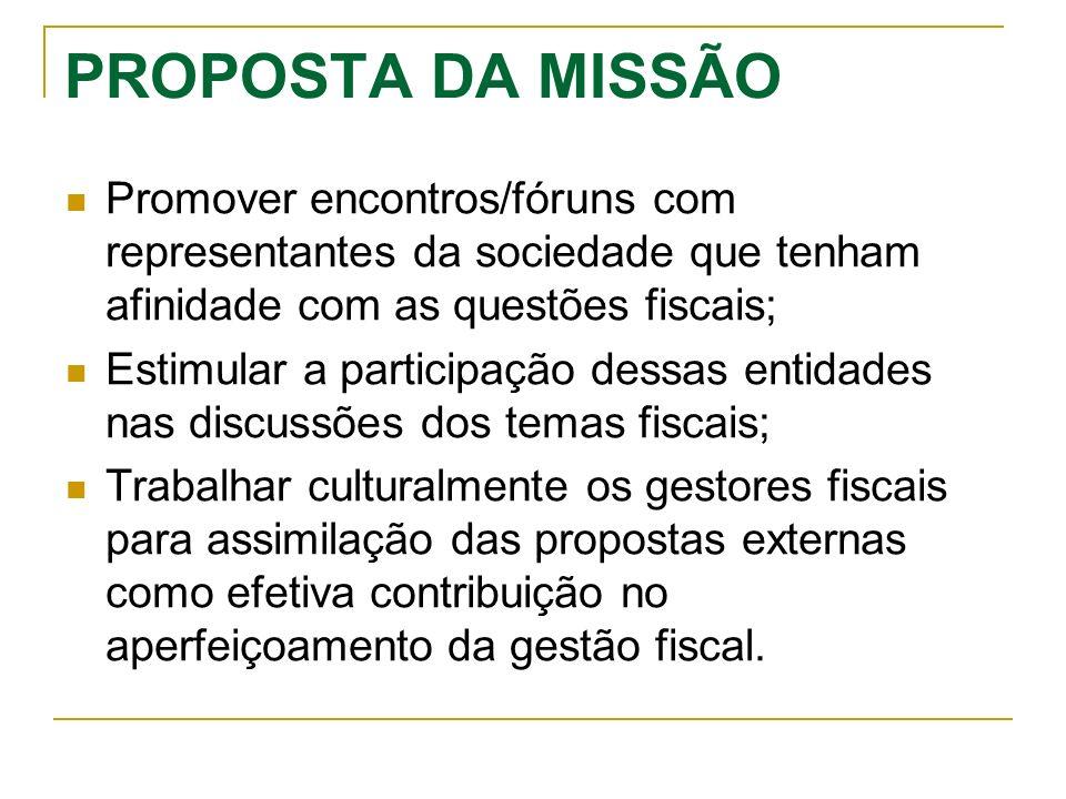 PROPOSTA DA MISSÃO Promover encontros/fóruns com representantes da sociedade que tenham afinidade com as questões fiscais; Estimular a participação de