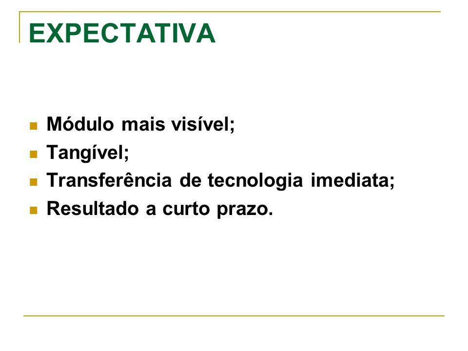EXPECTATIVA Módulo mais visível; Tangível; Transferência de tecnologia imediata; Resultado a curto prazo.