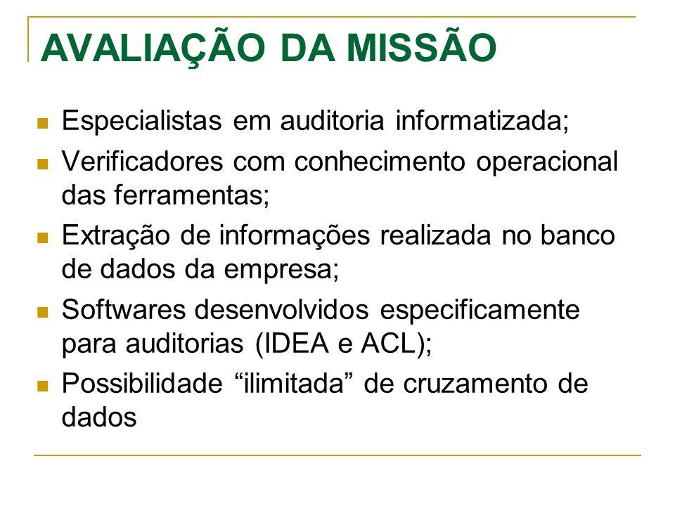 AVALIAÇÃO DA MISSÃO Especialistas em auditoria informatizada; Verificadores com conhecimento operacional das ferramentas; Extração de informações real