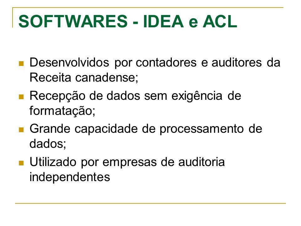 SOFTWARES - IDEA e ACL Desenvolvidos por contadores e auditores da Receita canadense; Recepção de dados sem exigência de formatação; Grande capacidade