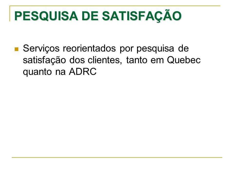 PESQUISA DE SATISFAÇÃO Serviços reorientados por pesquisa de satisfação dos clientes, tanto em Quebec quanto na ADRC
