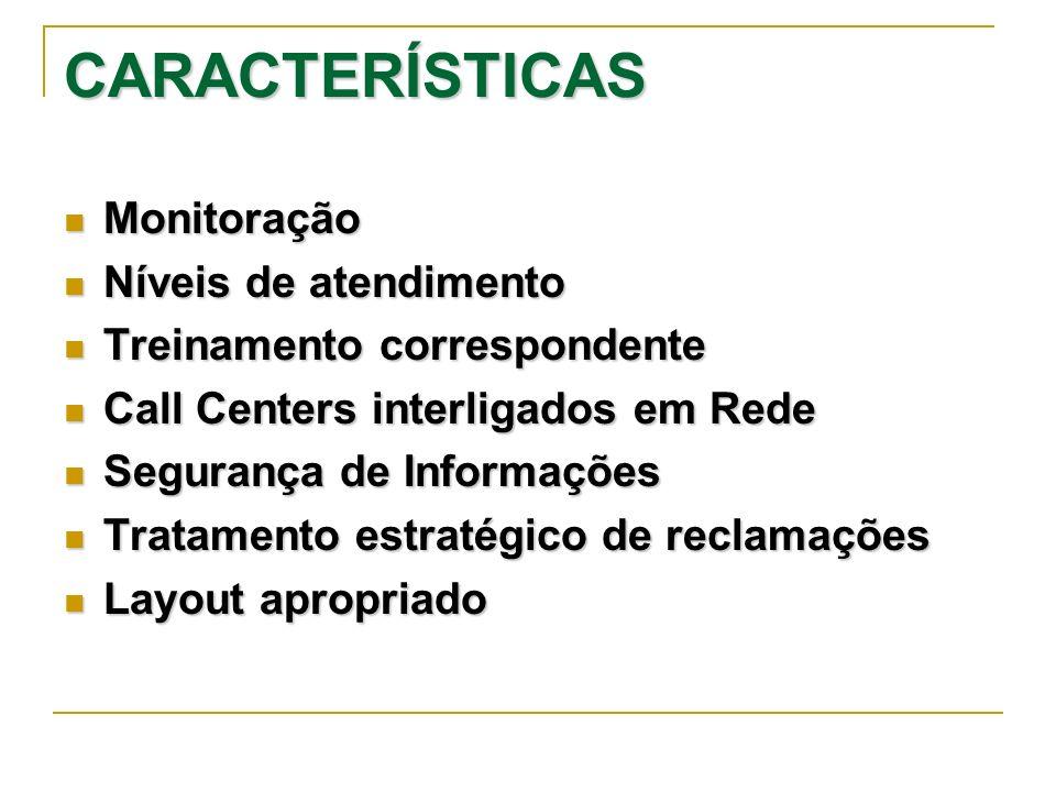CARACTERÍSTICAS Monitoração Monitoração Níveis de atendimento Níveis de atendimento Treinamento correspondente Treinamento correspondente Call Centers