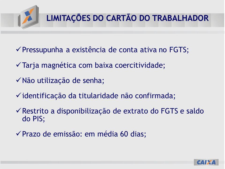 LIMITAÇÕES DO CARTÃO DO TRABALHADOR Pressupunha a existência de conta ativa no FGTS; Tarja magnética com baixa coercitividade; Não utilização de senha