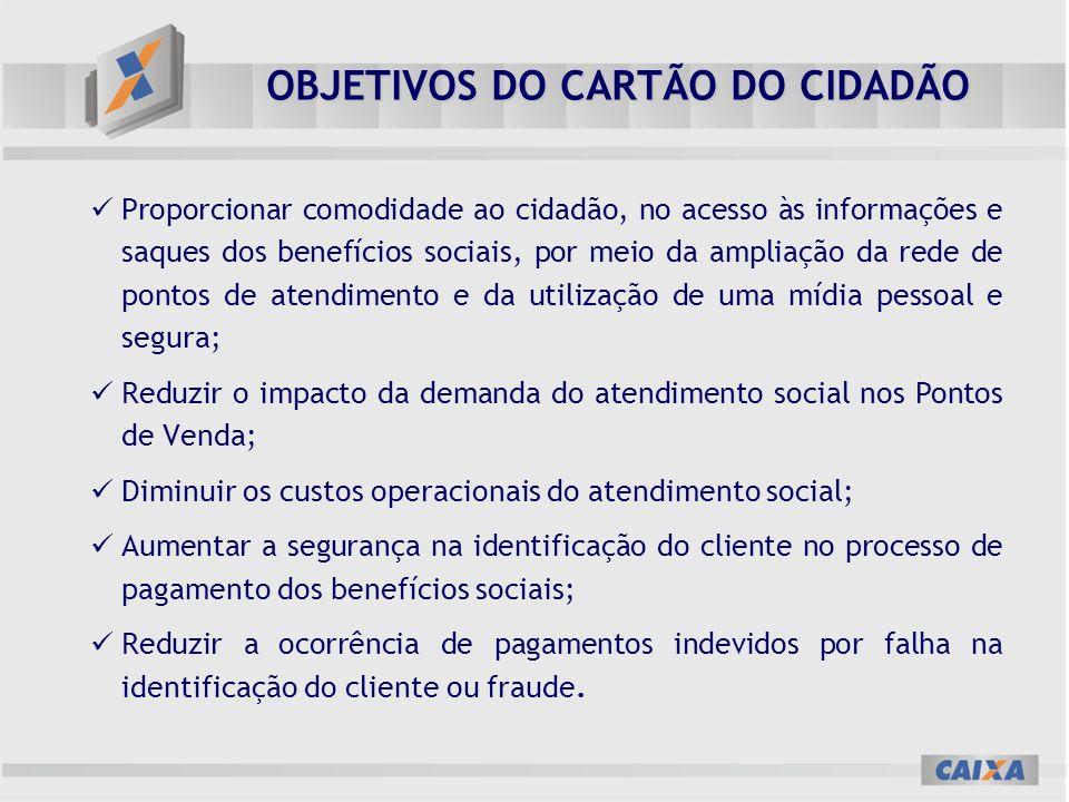 OBJETIVOS DO CARTÃO DO CIDADÃO Proporcionar comodidade ao cidadão, no acesso às informações e saques dos benefícios sociais, por meio da ampliação da