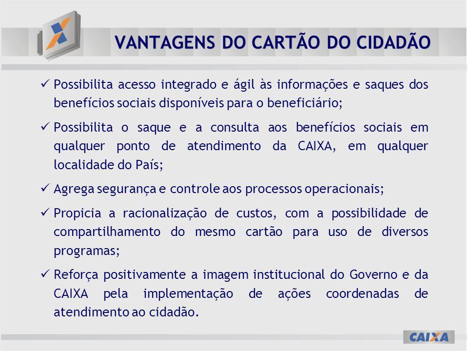 VANTAGENS DO CARTÃO DO CIDADÃO Possibilita acesso integrado e ágil às informações e saques dos benefícios sociais disponíveis para o beneficiário; Pos