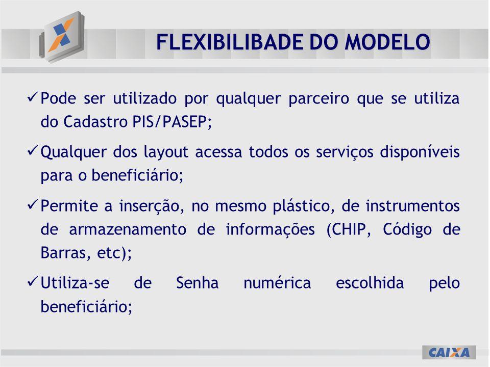 FLEXIBILIBADE DO MODELO Pode ser utilizado por qualquer parceiro que se utiliza do Cadastro PIS/PASEP; Qualquer dos layout acessa todos os serviços di
