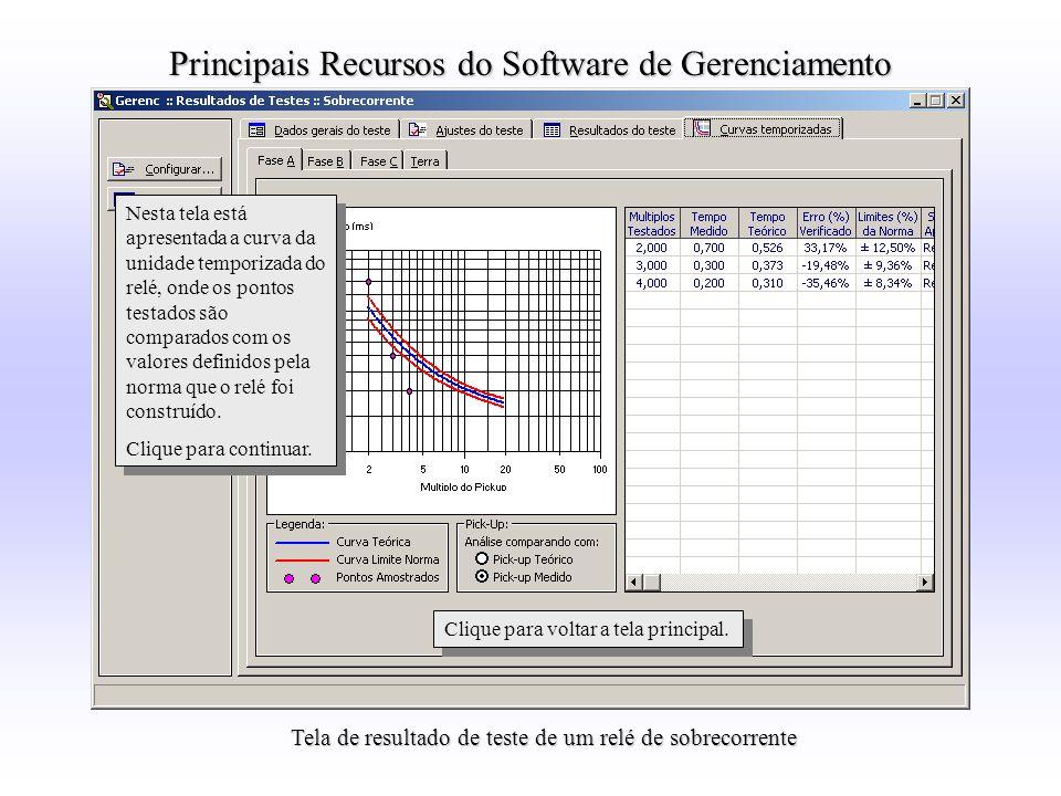 Tela de resultado de teste de um relé de sobrecorrente Nesta tela está apresentada a curva da unidade temporizada do relé, onde os pontos testados são