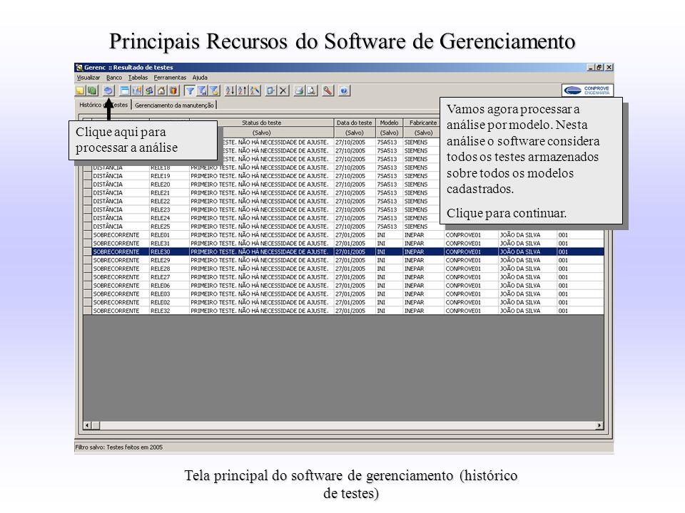 Tela principal do software de gerenciamento (histórico de testes) Principais Recursos do Software de Gerenciamento Vamos agora processar a análise por