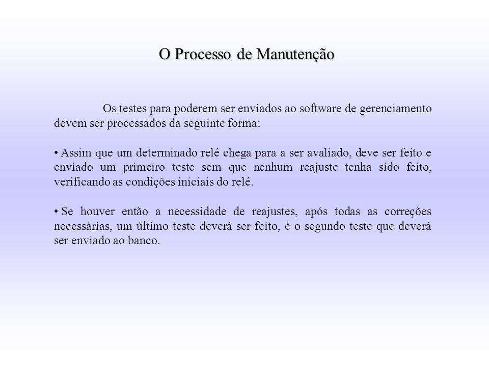 Os testes para poderem ser enviados ao software de gerenciamento devem ser processados da seguinte forma: Assim que um determinado relé chega para a s