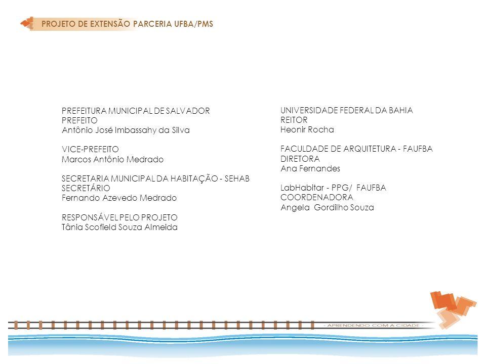 PREFEITURA MUNICIPAL DE SALVADOR PREFEITO Antônio José Imbassahy da Silva VICE-PREFEITO Marcos Antônio Medrado SECRETARIA MUNICIPAL DA HABITAÇÃO - SEH
