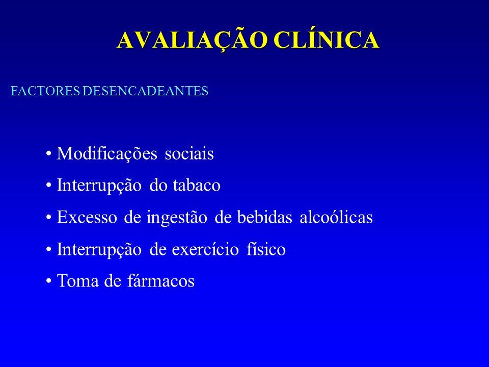 AVALIAÇÃO CLÍNICA Modificações sociais Interrupção do tabaco Excesso de ingestão de bebidas alcoólicas Interrupção de exercício físico Toma de fármaco