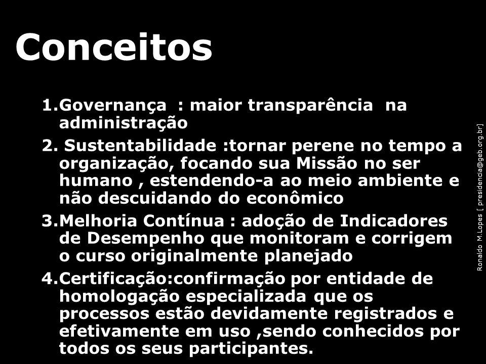 Ronaldo M.Lopes [ presidencia@geb.org.br] 1.Governança : maior transparência na administração 2. Sustentabilidade :tornar perene no tempo a organizaçã