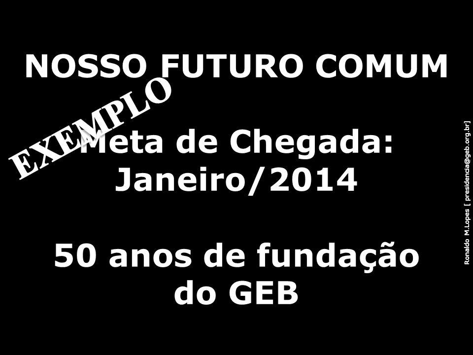 Ronaldo M.Lopes [ presidencia@geb.org.br] NOSSO FUTURO COMUM Meta de Chegada: Janeiro/2014 50 anos de fundação do GEB 24
