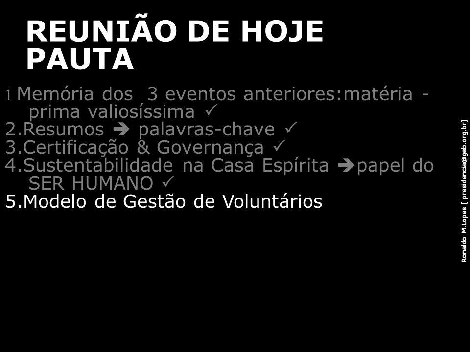 Ronaldo M.Lopes [ presidencia@geb.org.br] REUNIÃO DE HOJE PAUTA 1 Memória dos 3 eventos anteriores:matéria - prima valiosíssima 2.Resumos palavras-cha