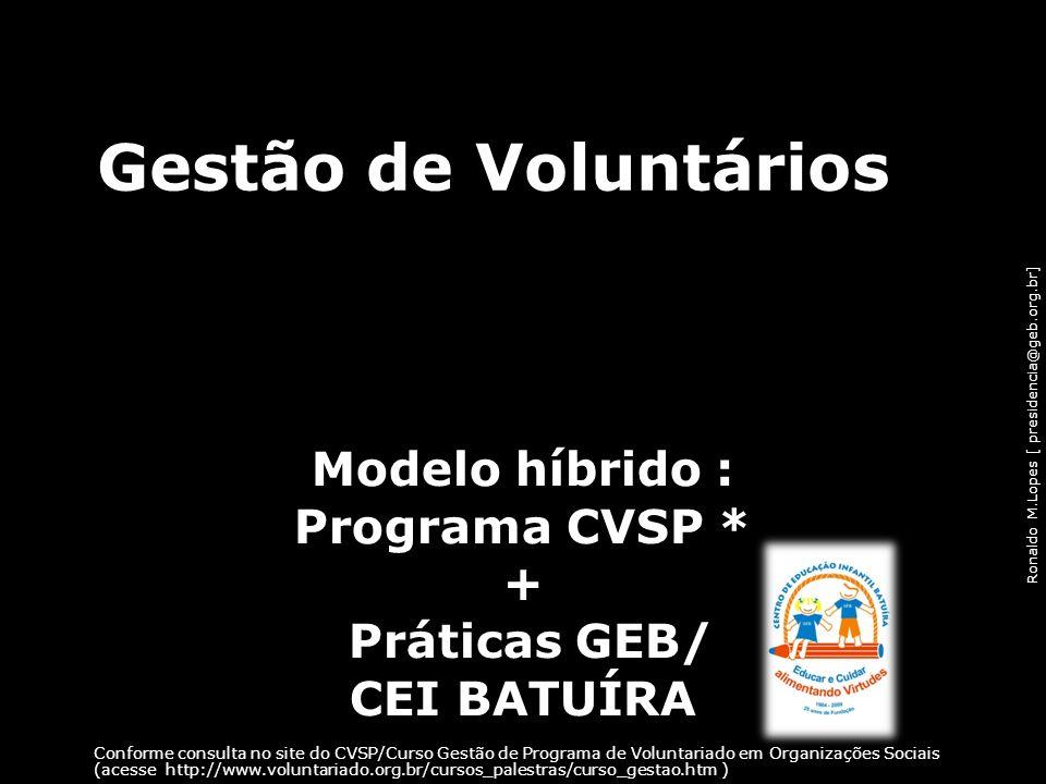 Ronaldo M.Lopes [ presidencia@geb.org.br] Gestão de Voluntários Modelo híbrido : Programa CVSP * + Práticas GEB/ CEI BATUÍRA Conforme consulta no site