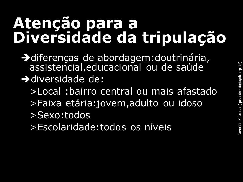 Ronaldo M.Lopes [ presidencia@geb.org.br] Atenção para a Diversidade da tripulação diferenças de abordagem:doutrinária, assistencial,educacional ou de