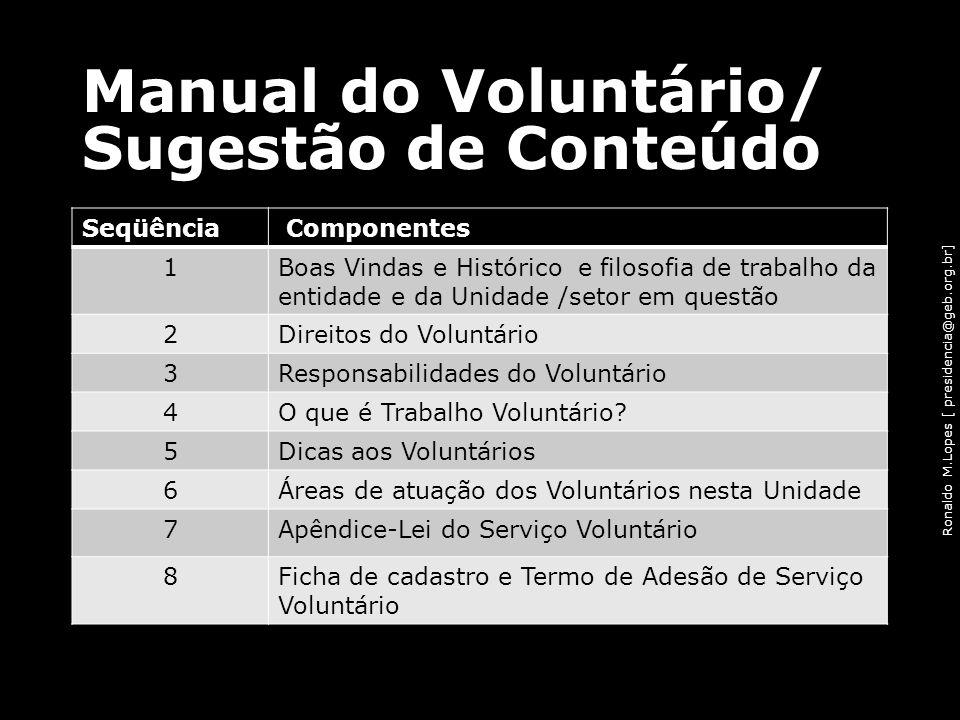 Ronaldo M.Lopes [ presidencia@geb.org.br] Manual do Voluntário/ Sugestão de Conteúdo Seqüência Componentes 1Boas Vindas e Histórico e filosofia de tra