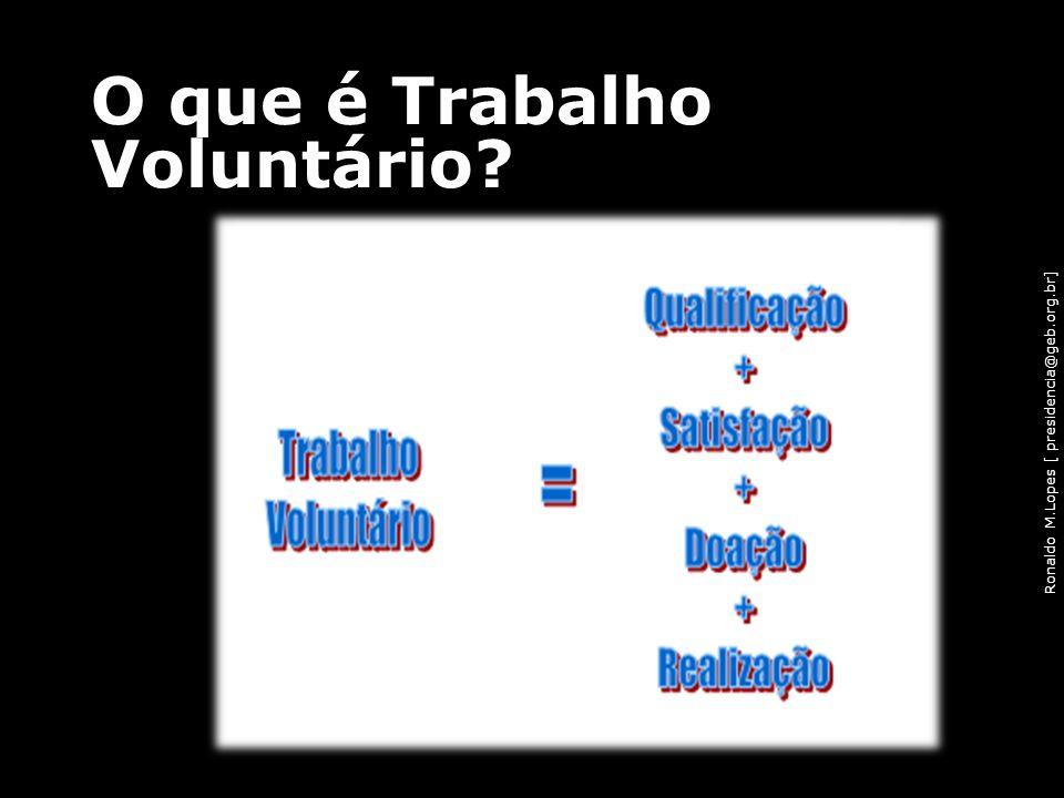 Ronaldo M.Lopes [ presidencia@geb.org.br] O que é Trabalho Voluntário? 46